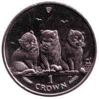 Экзотическая кошка. Монета 1 крона. 2006 год, Остров Мэн.