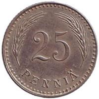 Монета 25 пенни. 1927 год, Финляндия.