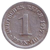 Монета 1 пфенниг. 1917 год (G), Германская империя.