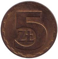 Монета 5 злотых. 1977 год, Польша.