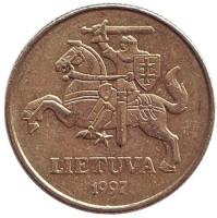 Монета 50 центов, 1997 год, Литва. Из обращения.