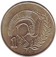 Птица. Монета 1 цент. 1985 год, Кипр.