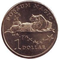 """Австралийский десерт """"Лэмингтон"""" делает опоссума видимым. Монета 1 доллар. 2017 год, Австралия."""