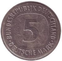 Монета 5 марок. 1988 год (D), ФРГ.