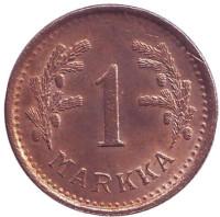1 марка. 1950 год (медь), Финляндия. XF-aUNC.