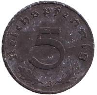 Монета 5 рейхспфеннигов. 1941 год (B), Третий Рейх (Германия).
