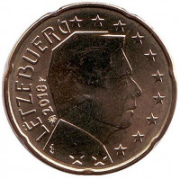 Монета 20 центов. 2018 год, Люксембург.