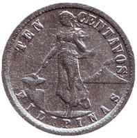 Монета 10 сентаво. 1938 год, Филиппины. (Администрация США).