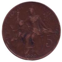 Монета 5 сантимов. 1909 год, Франция.