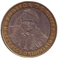 Индеец Мапуче. Монета 100 песо. 2004 год, Чили.