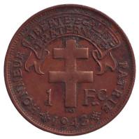 Монета 1 франк. 1943 год, Французская Экваториальная Африка.