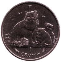 Рэгдолл. Кошки. Монета 1 крона. 2007 год, Остров Мэн.