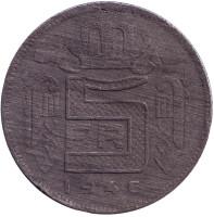 Монета 5 франков. 1946 год, Бельгия. (Des Belges)