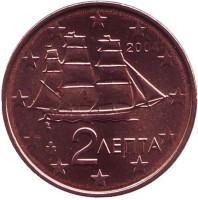 Монета 2 цента, 2004 год, Греция.