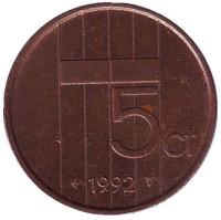 5 центов. 1992 год, Нидерланды.