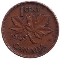 Монета 1 цент. 1943 год, Канада.