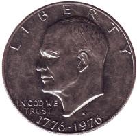 "Дуайт Эйзенхауэр (""лунный доллар""). Монета 1 доллар, 1976 год, США. (S)"