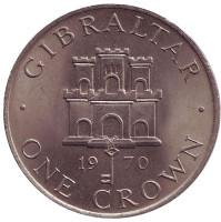 Замок. Монета 1 крона. 1970 год, Гибралтар.