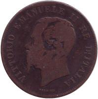 Виктор Эммануил II. Монета 5 чентезимо. 1867 год (M), Италия.
