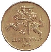 Монета 50 центов, 1999 год, Литва. Из обращения.