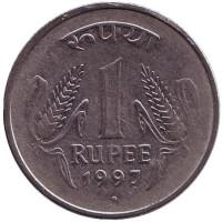 """Монета 1 рупия. 1997 год, Индия. (""""°"""" - Ноида)"""