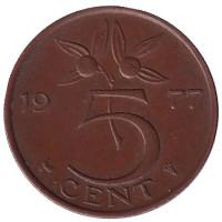 5 центов. 1977 год, Нидерланды.