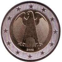 Монета 2 евро. 2002 год (J), Германия.
