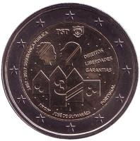 150 лет Полиции общественной безопасности. Монета 2 евро. 2017 год, Португалия.