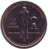 100 лет Открытому чемпионату по гольфу в Канаде. Монета 10 центов. 2004 год, Канада.