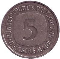 Монета 5 марок. 1988 год (F), ФРГ.