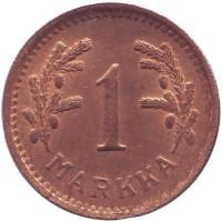 1 марка. 1951 год (медь), Финляндия. XF-aUNC.