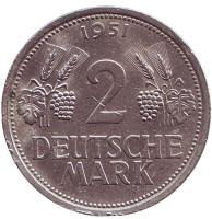 Монета 2 марки. 1951 год (J), ФРГ.