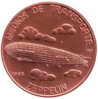 Дирижабль. (Цеппелин). Транспорт Кубы. Монета 1 песо. 1988 год, Куба. (Медь).
