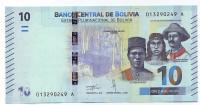 Банкнота 10 боливано. 2018 год, Боливия.