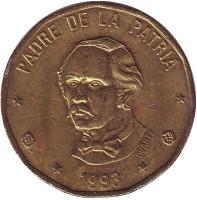 Пабло Дуарте. Монета 1 песо. 1993 год, Доминиканская Республика.
