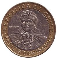 Индеец Мапуче. Монета 100 песо. 2008 год, Чили.