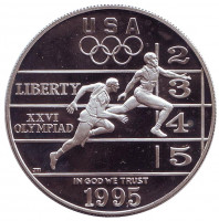 XXVI летние Олимпийские Игры. Атланта 1996. Бег. Монета 1 доллар. 1995 год, США.