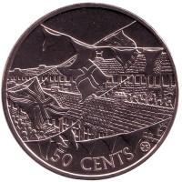 50 лет правления Королевы Елизаветы II. Монета 50 центов. 2002 год, Острова Кука.
