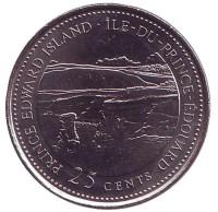 Остров Принца Эдуарда. 125 лет Конфедерации Канады. Монета 25 центов. 1992 год, Канада.