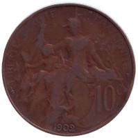 Монета 10 сантимов. 1902 год, Франция.