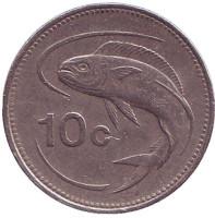 Золотистая макрель. Монета 10 центов. 1992 год, Мальта.