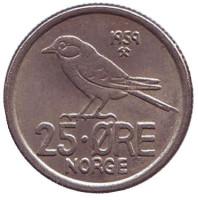 Птица. Монета 25 эре. 1959 год, Норвегия.