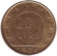 Монета 200 лир. 1986 год, Италия.