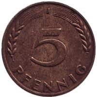 Дубовые листья. Монета 5 пфеннигов. 1966 год (J), ФРГ.