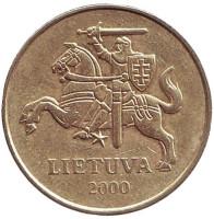 Монета 50 центов, 2000 год, Литва. Из обращения.