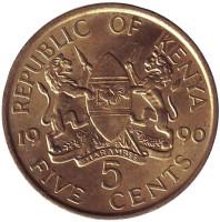 Монета 5 центов. 1990 год, Кения. XF.