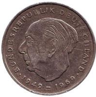 Теодор Хойс. Монета 2 марки. 1971 год (J), ФРГ.