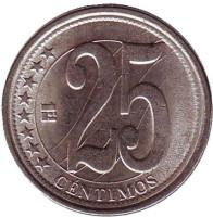 Монета 25 сентимо. 2007 год, Венесуэла.