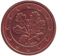 Монета 1 цент. 2004 год (D), Германия.
