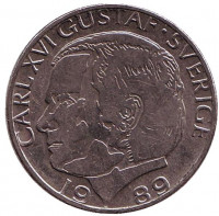 Монета 1 крона. 1989 год, Швеция.